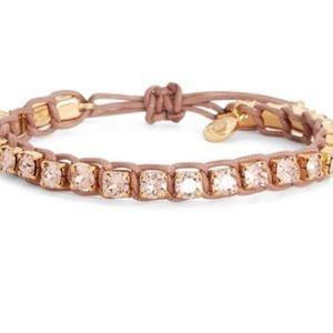 Tory Burch Macrame Crystal Bracelet Rosé/Tan